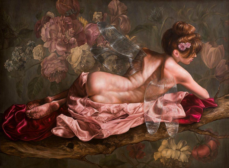 Hada en Reposo . óleo sobre lienzo . 145 x 196 cm . 2019
