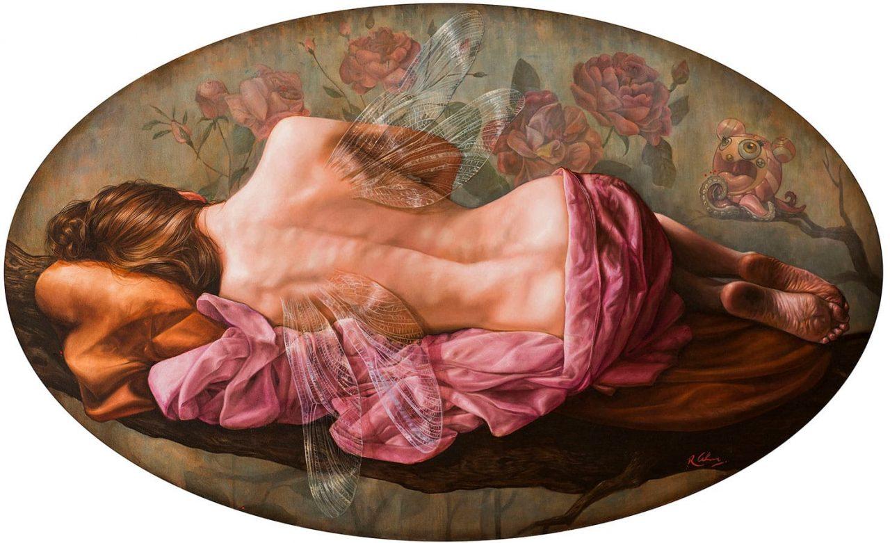 Tentación de la Ninfa . óleo sobre lienzo . 59 x 99 cm . 2019
