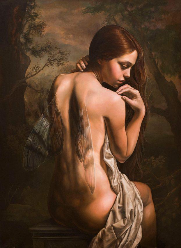 El Crepúsculo de la Ninfa . óleo sobre lienzo . 123 x 90 cm . 2019