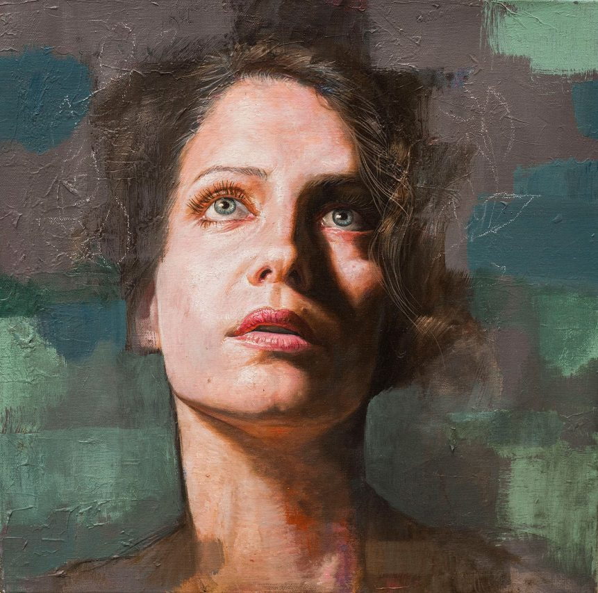 Pienso Hojas . óleo sobre lienzo . 40 x 40 cm . 2019