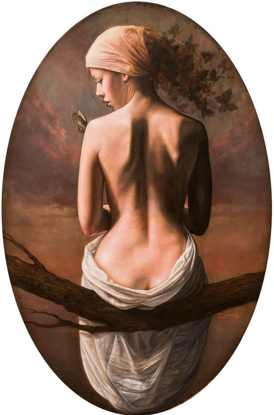 El Sueño de Crisálida II . óleo sobre lienzo . 100 x 66 cm . 2019