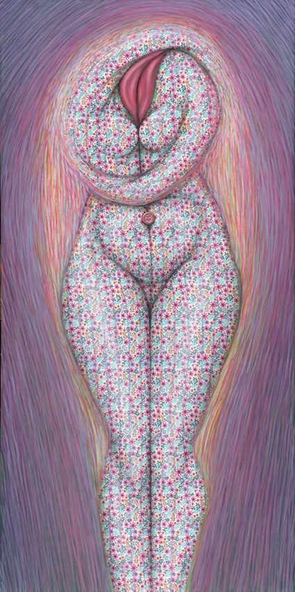 Abrazarse . acrílico sobre género . 100 x 50 cm . 2019