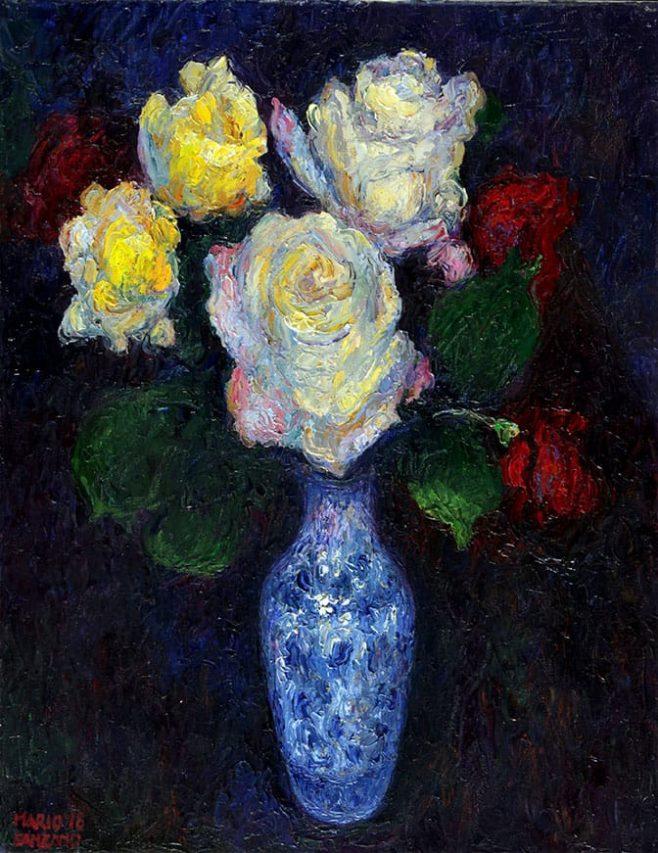 Simples Rosas . óleo sobre lienzo . 45 x 35 cm . 2019