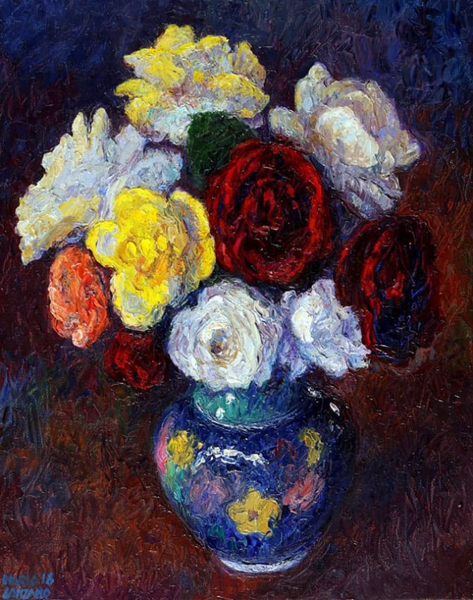 Rosa de Patio . óleo sobre lienzo . 50 x 40 cm . 2019