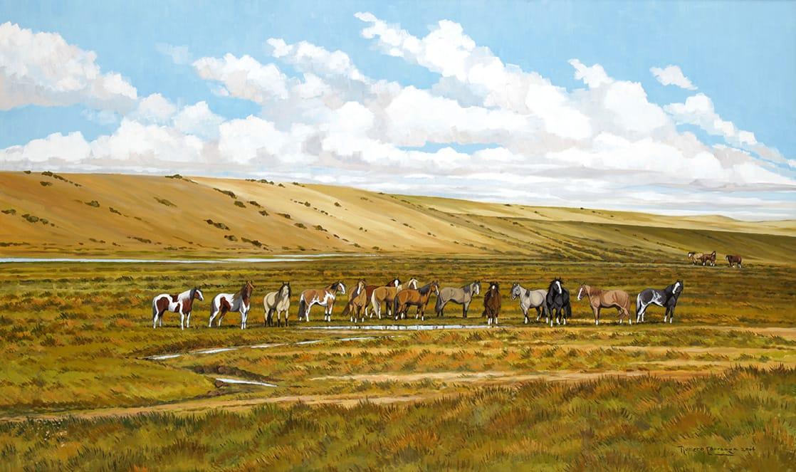 Criollos en la Patagonia . óleo sobre lienzo . 80 x 130 cm . 2006