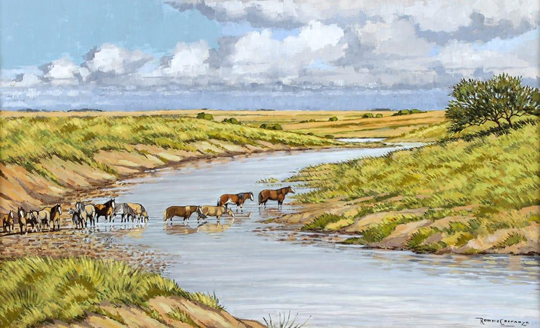 Remanso en el Arroyo . óleo sobre lienzo . 50 x 80 cm . 1995