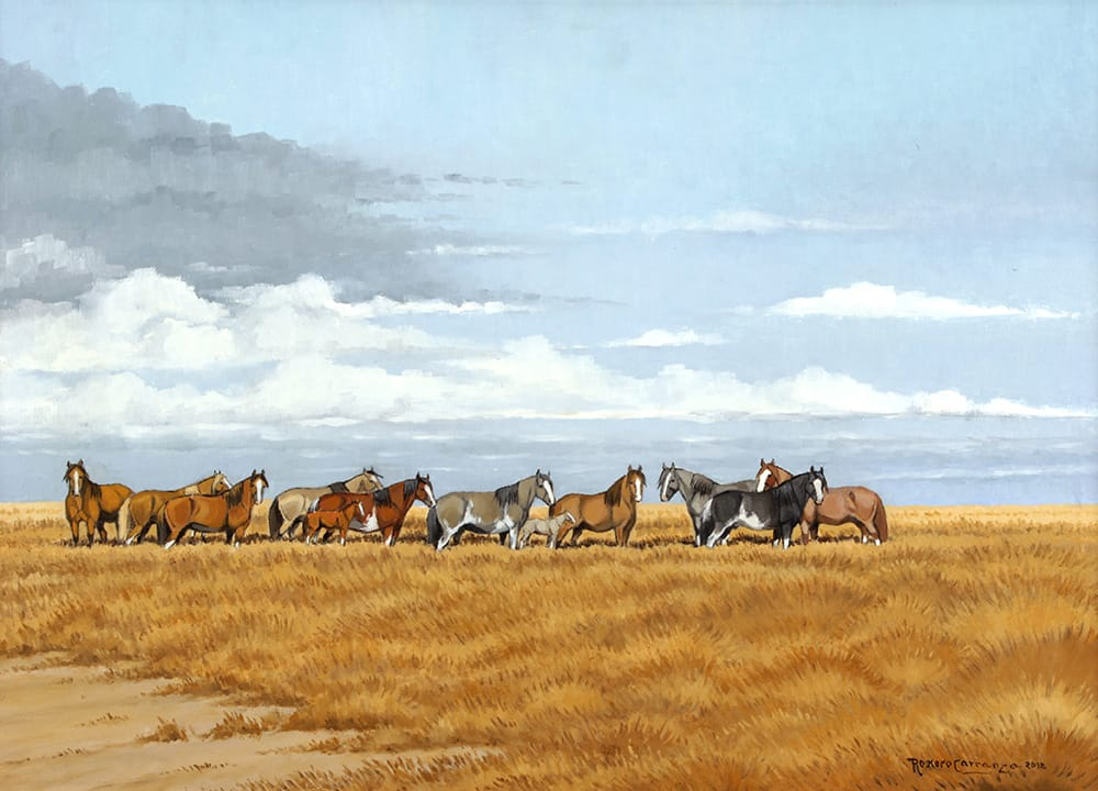 Manada en el Pajonal . óleo sobre lienzo . 50 x 70 cm . 2012