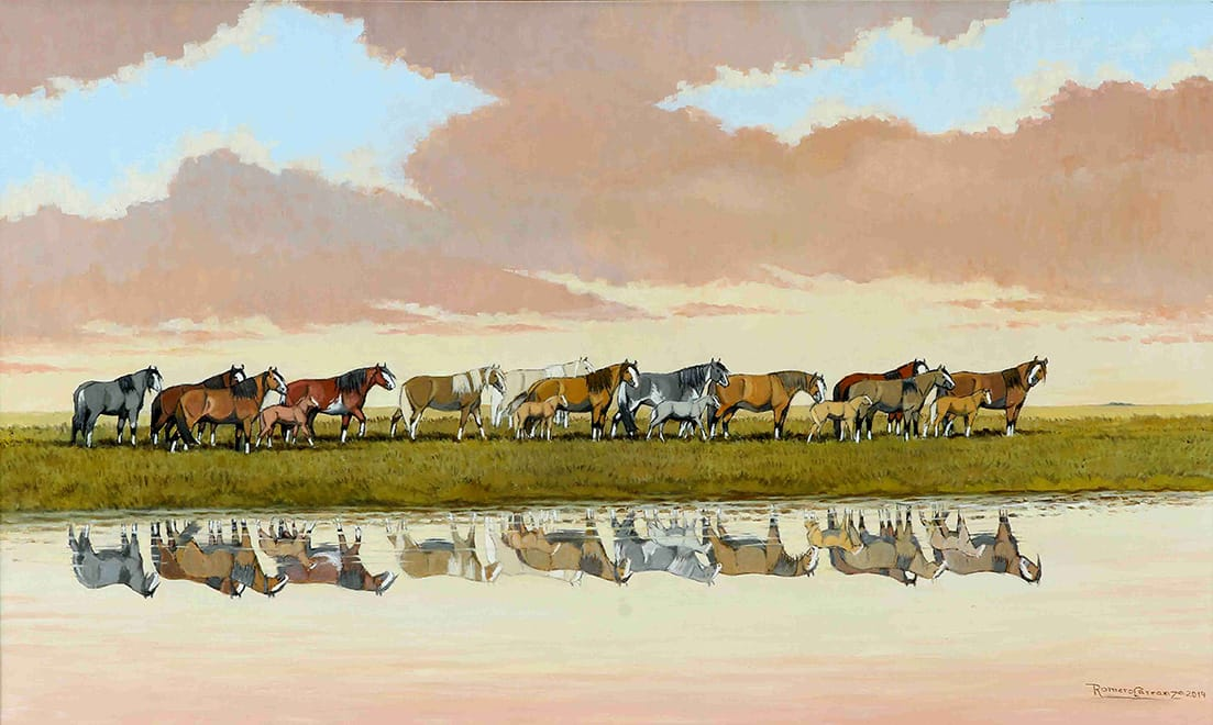Bordeando la Laguna . óleo sobre lienzo . 60 x 100 cm . 2014