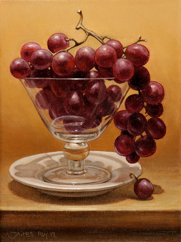 Copa con Uvas . óleo sobre lienzo . 24 x 18 cm . 2019
