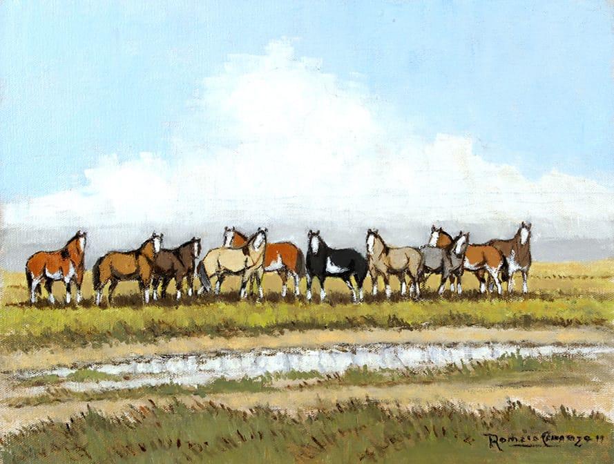 Los Malacaras . óleo sobre lienzo . 27 x 35 cm . 2019