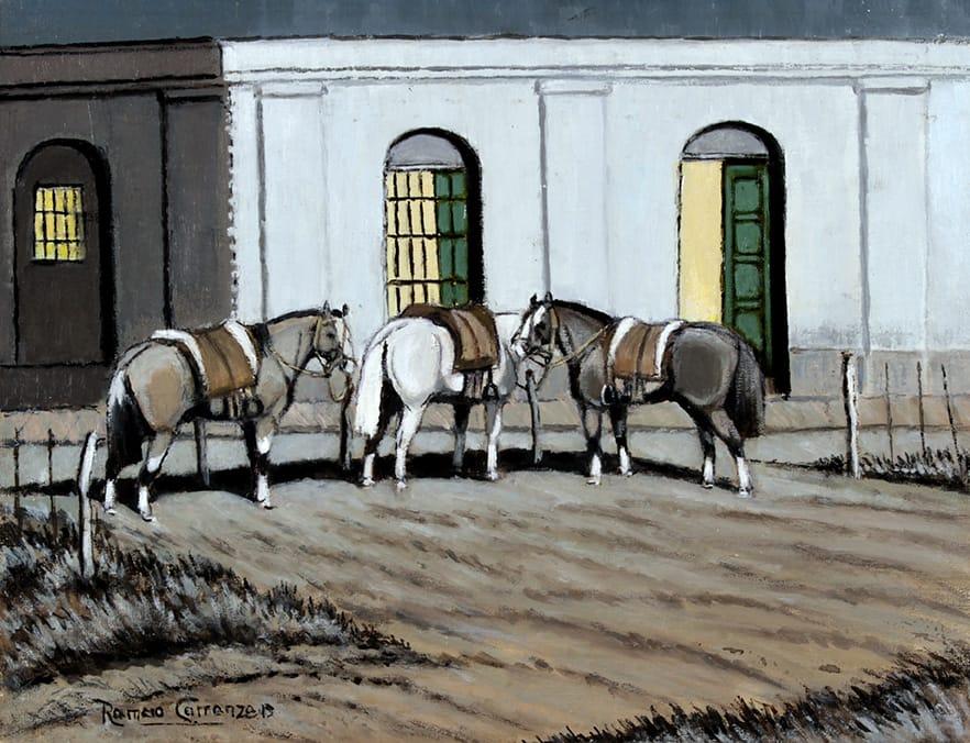 De Noche en la Pulpería . óleo sobre lienzo . 27 x 35 cm . 2019
