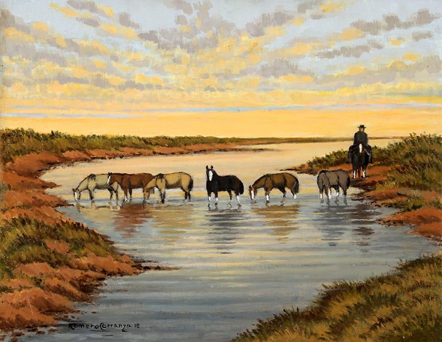 Atardecer en el Tala . óleo sobre lienzo . 27 x 35 cm . 2018