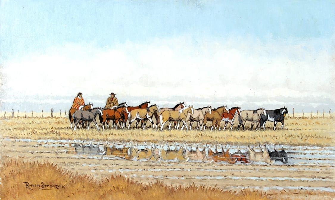 Tropilla de Madrugada . óleo sobre lienzo . 30 x 50 cm . 2018