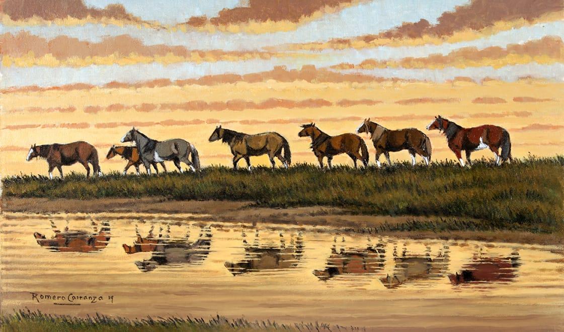 Bordeando el Arroyo . óleo sobre lienzo . 30 x 50 cm . 2019