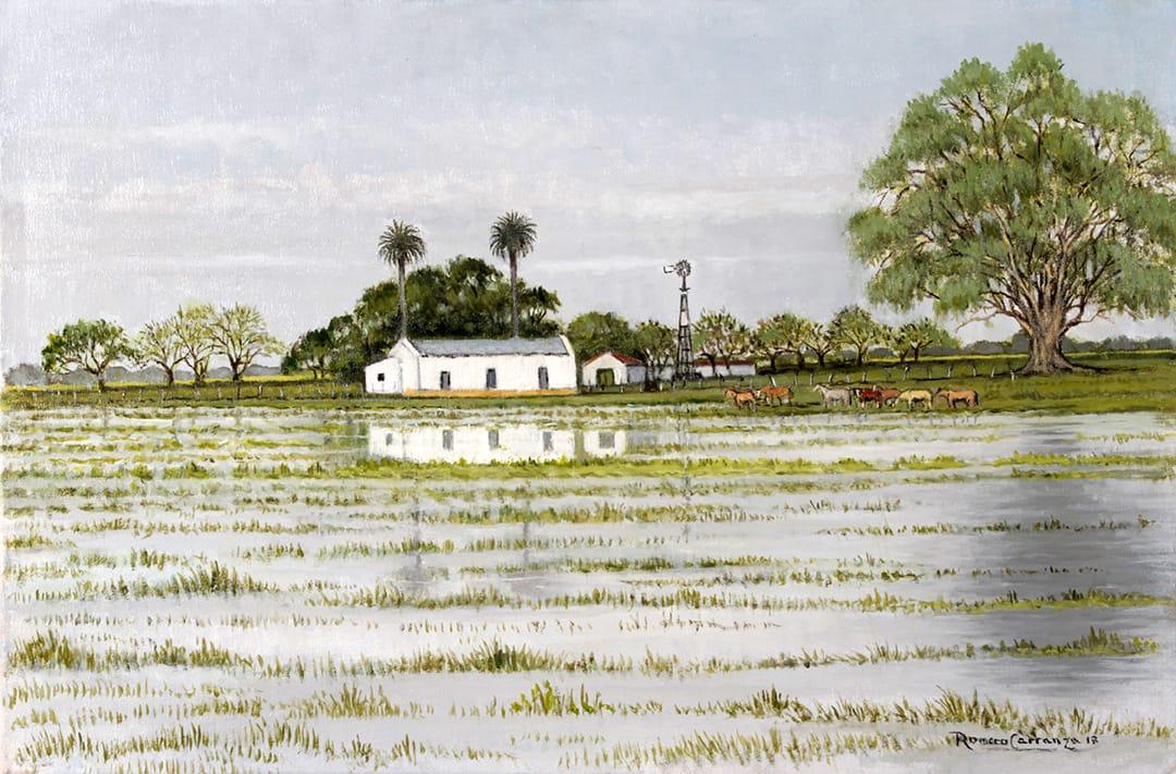 El Puesto en la Inundación . óleo sobre lienzo . 40 x 60 cm . 2018