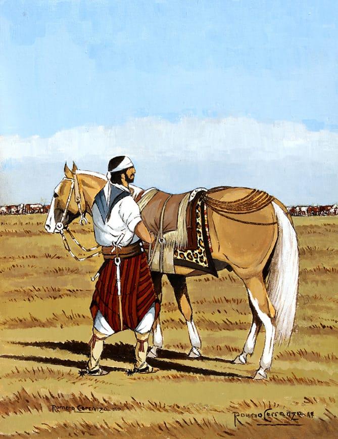 """El gaucho """"Enlomillando el Ruano"""", es una pintura fabulosa para los seguidores de la cultura gauchesca y el campo argentino."""