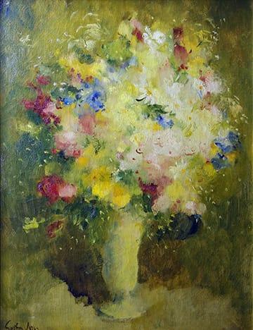 Gastón Jarry . Jarrón con Flores . óleo sobre lienzo . 93 x 70 cm . 1950
