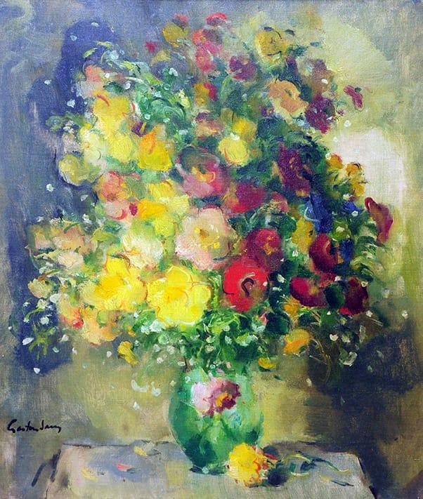 Gastón Jarry . Flores . óleo sobre lienzo . 70 x 60 cm . 1950