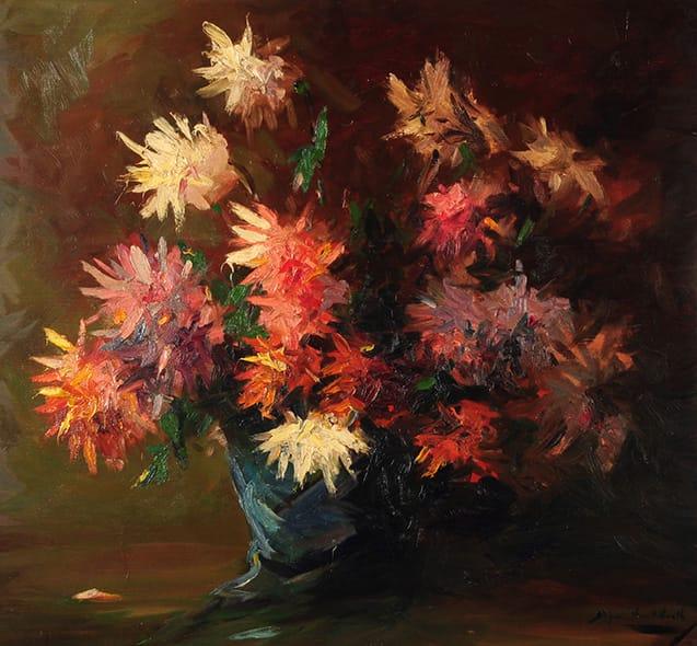 Stephen Koekkoek . Crisantemos . óleo sobre tabla . 80 x 100 cm . 1932