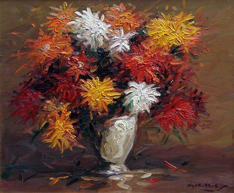 Stephen Koekkoek . Jarrón con Flores . óleo sobre tabla . 47 x 57 cm . 1932