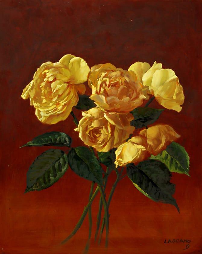 Juan Lascano . Rosas Amarillas . óleo sobre fibrofácil . 50 x 40 cm . 2019
