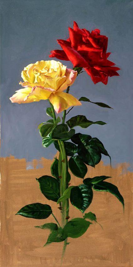 Juan Lascano . Las Dos Rosas . óleo sobre lienzo . 80 x 40 cm . 2019