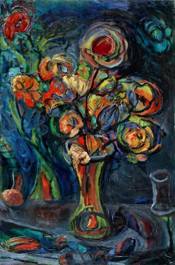 Leopoldo Presas . Flores . óleo sobre lienzo . 90 x 60 cm . 1972