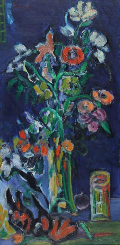 Leopoldo Presas . Las Flores . óleo sobre lienzo . 80 x 40 cm . 1968