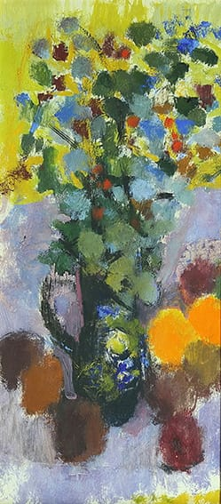 Roberto Rossi . Flores y Frutas . óleo sobre cartón . 60 x 30 cm . 1955