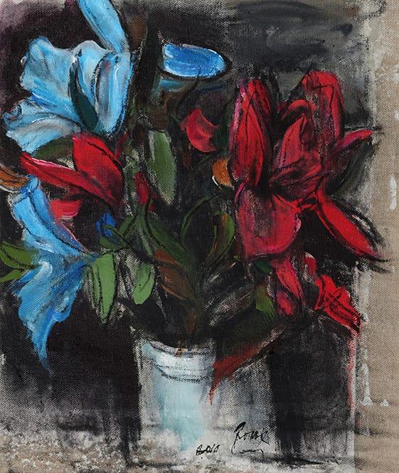 Guillermo Roux . Flores Rojas y Azules . témpera sobre lienzo . 52 x 43 cm . 2010