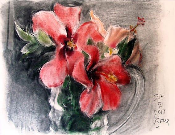 Guillermo Roux . Flores Rojas . pastel sobre papel . 50 x 65 cm . 2013