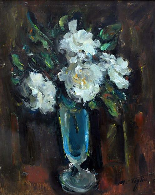 Marcos Tiglio . Flores . óleo sobre tabla . 40 x 30 cm . 1950