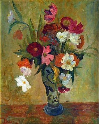Leopoldo Torres Agüero . Anémonas . óleo sobre cartón . 54 x 43 cm . 1948