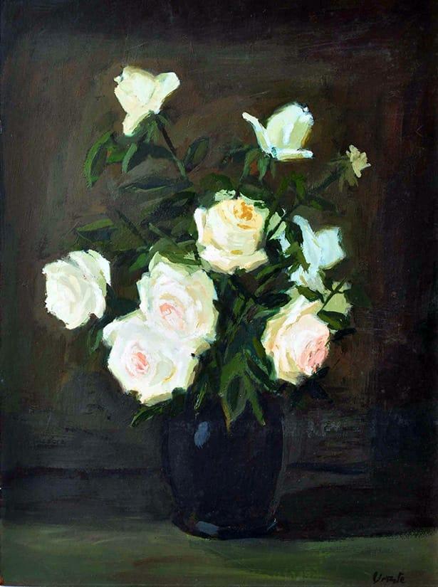 Carlos Uriarte . Rosas Blancas . óleo sobre hardboard . 74 x 55 cm . 1955