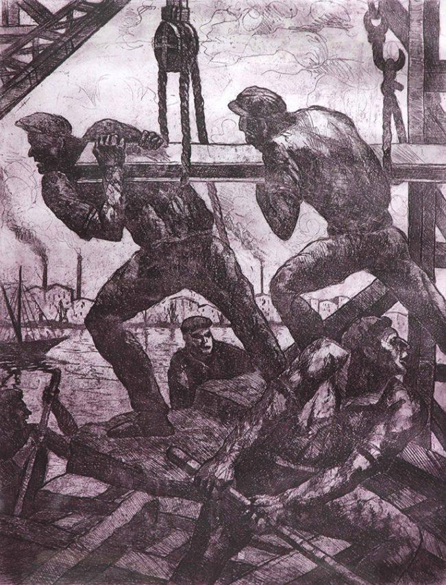 En Plena Actividad . aguafuerte . 65 x 49 cm . 1942
