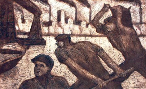 Día de Trabajo . aguafuerte . 40 x 55 cm . 1952