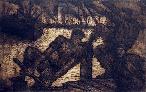 Día de Trabajo . aguafuerte . 37 x 54 cm . 1950