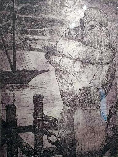 Amor en el Puerto . aguafuerte . 70 x 50 cm . 1960