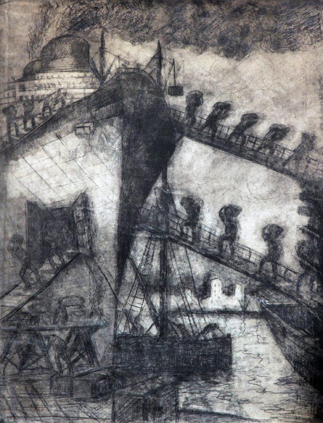 Descarga . aguafuerte . 70 x 50 cm . 1950