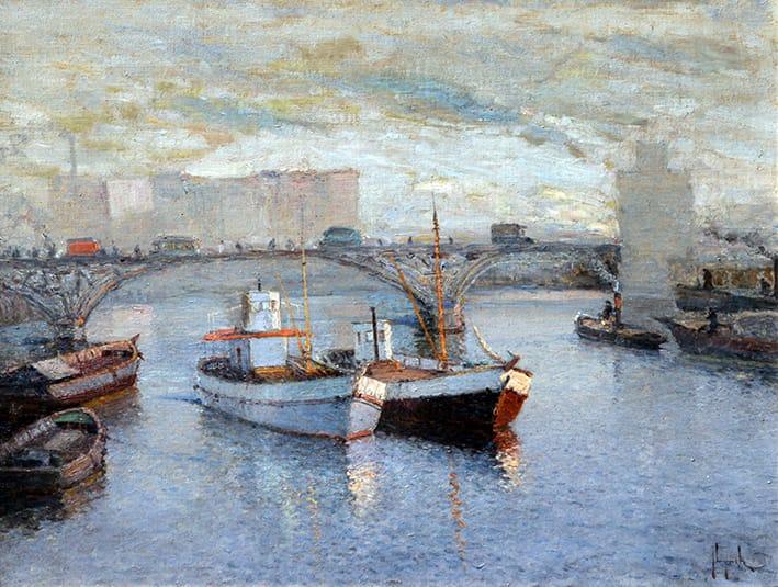 Justo Lynch . Esperando Carga . óleo sobre lienzo . 47 x 60 cm . 1941