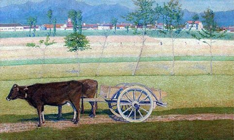 José Malanca . Carreta tirada por Bueyes, Italia . óleo sobre lienzo . 91 x 121 cm . 1925