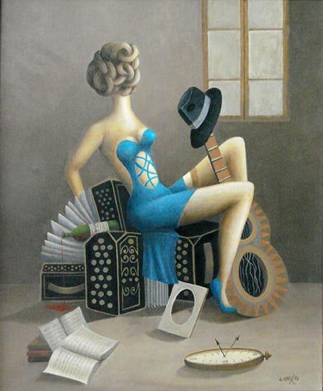 Juan Carlos Liberti . La que Nunca tuvo Novio . óleo sobre lienzo . 60 x 50 cm . 2001