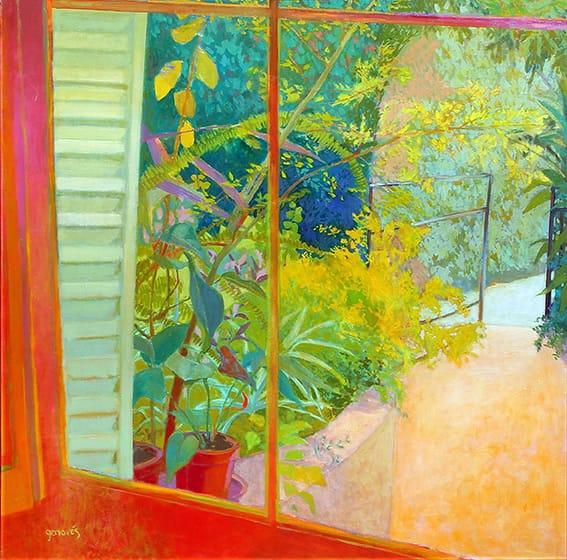 Ventana al jardín . óleo sobre lienzo . 90 x 90 cm . 2003