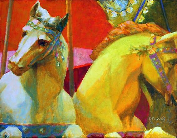Dos caballos . óleo sobre lienzo . 40 x 50 cm . 2007