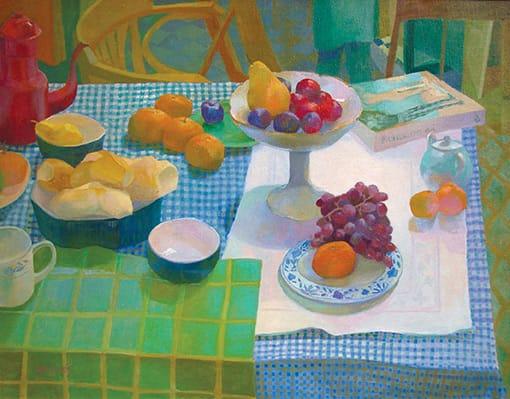 El mantel azul . óleo sobre lienzo . 70 x 90 cm . 2001
