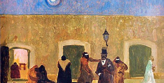 Pedro Figari . Quién carga con el Muerto . óleo sobre cartón . 61 x 80 cm . 1928