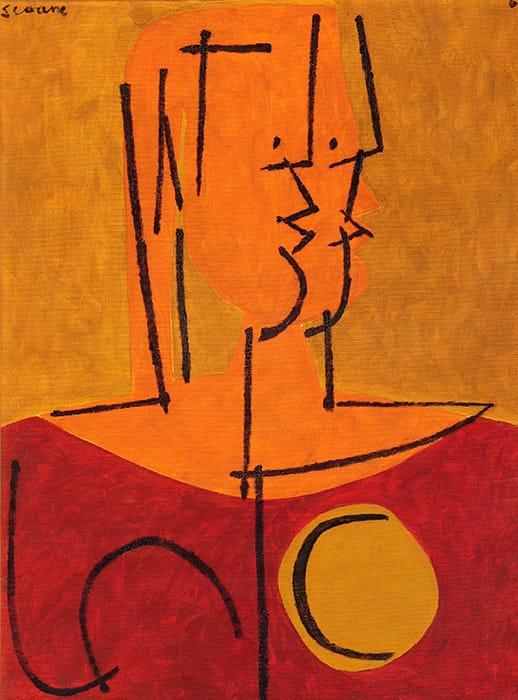Luis Seoane . Dama . óleo sobre lienzo . 80 x 60 cm . 1969