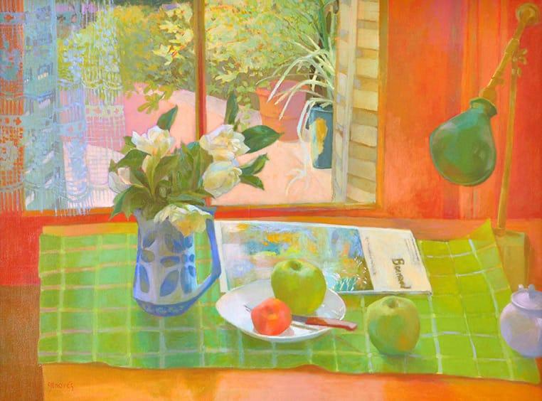 Jazmines sobre la mesa . óleo sobre lienzo . 60 x 80 cm . 2000