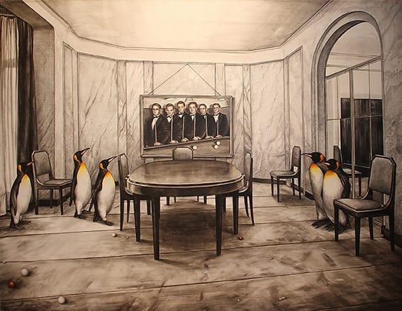 Jorge Alvaro . Familia de Campeones . técnica mixta sobre lienzo . 114 x 145 cm . 1997