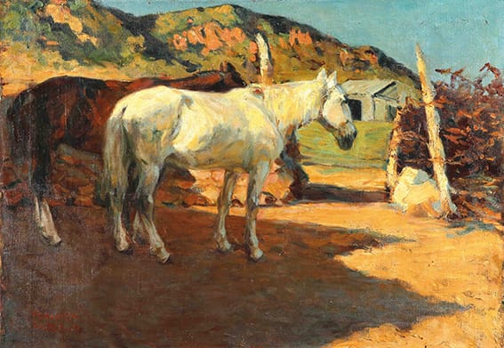 Fernando Fader . Caballos al Sol . óleo sobre lienzo . 70 x 100 cm . 1906